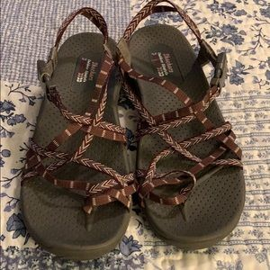 Skechers Sandals.  Maroon.  Size 10 or 11 Like New